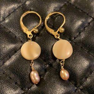 Anthropologie Gold Mop Pearl Mermaid Drop Earrings